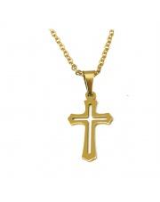 Złoty naszyjnik, łańcuszek celebrytka krzyż 3 ze stali szlachetnej 316L
