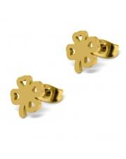 Złote kolczyki celebrytka koniczynka 2 ze stali szlachetnej 316L
