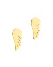 Złote kolczyki celebrytka skrzydła ze stali szlachetnej 316L