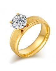 Złoty pierścionek ze stali szlachetnej 316L z cyrkonią P5