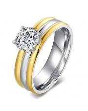Złoto-srebrny pierścionek ze stali szlachetnej 316L z cyrkonią P7