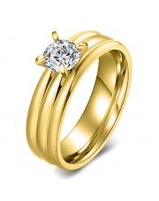 Złoty pierścionek ze stali szlachetnej 316L z cyrkonią P8
