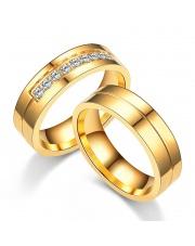 Komplet złotych obrączek dla pary ze stali szlachetnej 316L KO6