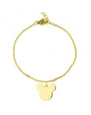 Złota bransoletka celebrytka myszka miki ze stali szlachetnej 316L