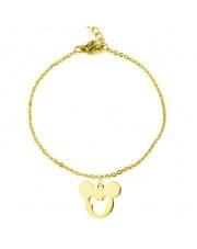 Złota bransoletka celebrytka myszka miki 2 ze stali szlachetnej 316L