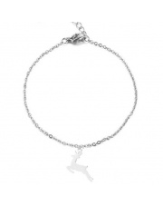 Srebrna bransoletka celebrytka jeleń renifer ze stali szlachetnej 316L
