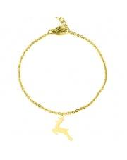 Złota bransoletka celebrytka jeleń renifer ze stali szlachetnej 316L