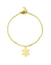 Złota bransoletka celebrytka śnieżynka ze stali szlachetnej 316L