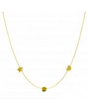 Złoty naszyjnik, łańcuszek celebrytka gwiazda koło serce ze stali szlachetnej 316L - C1