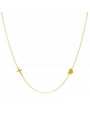 Złoty naszyjnik, łańcuszek celebrytka krzyż serce ze stali szlachetnej 316L - C3