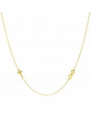 Złoty naszyjnik, łańcuszek celebrytka krzyż nieskończoność ze stali szlachetnej 316L - C4