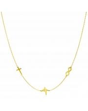 Złoty naszyjnik, łańcuszek celebrytka krzyż linia życia nieskończoność ze stali szlachetnej 316L - C5