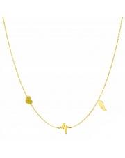 Złoty naszyjnik, łańcuszek celebrytka serce linia życia skrzydło ze stali szlachetnej 316L - C6