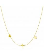 Złoty naszyjnik, łańcuszek celebrytka serce linia życia koniczynka ze stali szlachetnej 316L - C7
