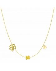 Złoty naszyjnik, łańcuszek celebrytka 3 x koniczynki koniczynka koniczyna ze stali szlachetnej 316L - C8