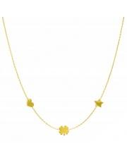 Złoty naszyjnik, łańcuszek celebrytka serce koniczynka gwiazda ze stali szlachetnej 316L - C10