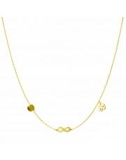 Złoty naszyjnik, łańcuszek celebrytka koło nieskończoność koniczynka ze stali szlachetnej 316L - C12
