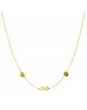 Złoty naszyjnik, łańcuszek celebrytka serce nieskończoność koło ze stali szlachetnej 316L - C13
