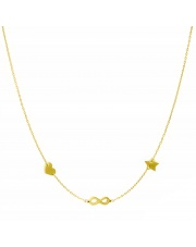 Złoty naszyjnik, łańcuszek celebrytka serce nieskończoność gwiazda ze stali szlachetnej 316L - C14