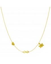 Złoty naszyjnik, łańcuszek celebrytka serce nieskończoność puzzle ze stali szlachetnej 316L - C15
