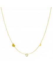 Złoty naszyjnik, łańcuszek celebrytka 3 x serce serduszko ze stali szlachetnej 316L - C16
