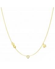 Złoty naszyjnik, łańcuszek celebrytka nieskończoność serce koniczynka ze stali szlachetnej 316L - C17