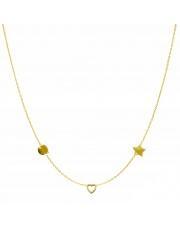 Złoty naszyjnik, łańcuszek celebrytka koło serce gwiazda ze stali szlachetnej 316L - C18