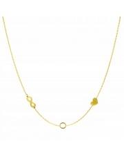 Złoty naszyjnik, łańcuszek celebrytka nieskończoność koło serce ze stali szlachetnej 316L - C19
