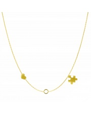 Złoty naszyjnik, łańcuszek celebrytka serce koło puzzle ze stali szlachetnej 316L - C20