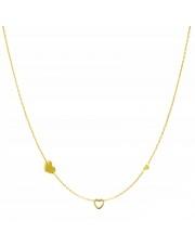 Złoty naszyjnik, łańcuszek celebrytka 3 x serce serduszko ze stali szlachetnej 316L - C22