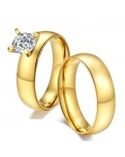 Komplet złota obrączka + złoty pierścionek ze stali szlachetnej 316L PO1