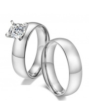 Komplet srebrna obrączka + srebrny pierścionek ze stali szlachetnej 316L PO2